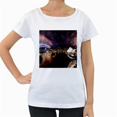 New Year's Evein Sydney Australia Opera House Celebration Fireworks Women s Loose Fit T Shirt (white)