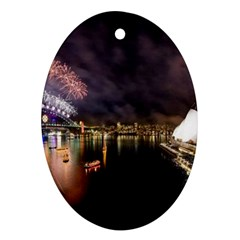 New Year's Evein Sydney Australia Opera House Celebration Fireworks Oval Ornament (two Sides)