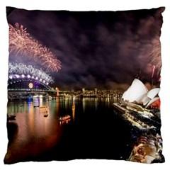 New Year's Evein Sydney Australia Opera House Celebration Fireworks Large Flano Cushion Case (one Side)