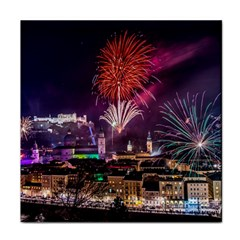 New Year New Year's Eve In Salzburg Austria Holiday Celebration Fireworks Tile Coasters