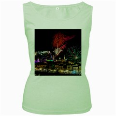 New Year New Year's Eve In Salzburg Austria Holiday Celebration Fireworks Women s Green Tank Top