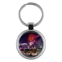 New Year New Year's Eve In Salzburg Austria Holiday Celebration Fireworks Key Chains (round)