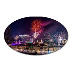 New Year New Year's Eve In Salzburg Austria Holiday Celebration Fireworks Oval Magnet