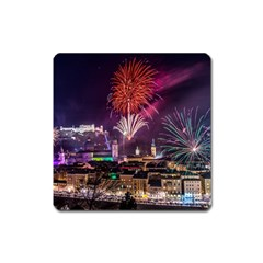 New Year New Year's Eve In Salzburg Austria Holiday Celebration Fireworks Square Magnet