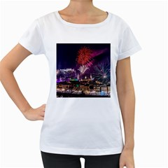 New Year New Year's Eve In Salzburg Austria Holiday Celebration Fireworks Women s Loose Fit T Shirt (white)