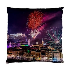 New Year New Year's Eve In Salzburg Austria Holiday Celebration Fireworks Standard Cushion Case (two Sides)