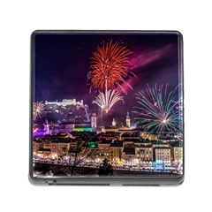 New Year New Year's Eve In Salzburg Austria Holiday Celebration Fireworks Memory Card Reader (square)
