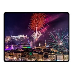 New Year New Year's Eve In Salzburg Austria Holiday Celebration Fireworks Fleece Blanket (small)