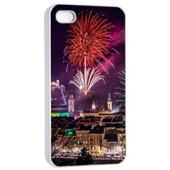 New Year New Year's Eve In Salzburg Austria Holiday Celebration Fireworks Apple Iphone 4/4s Seamless Case (white)