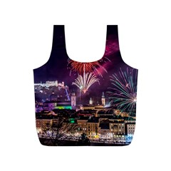 New Year New Year's Eve In Salzburg Austria Holiday Celebration Fireworks Full Print Recycle Bags (s)