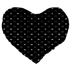 Space Black Large 19  Premium Heart Shape Cushions