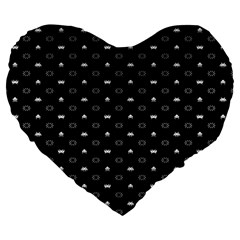 Space Black Large 19  Premium Flano Heart Shape Cushions