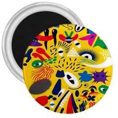 Yellow Eye Animals Cat 3  Magnets