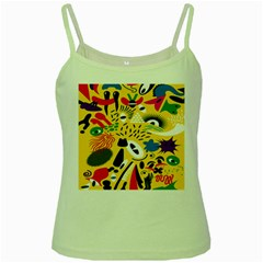 Yellow Eye Animals Cat Green Spaghetti Tank