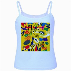 Yellow Eye Animals Cat Baby Blue Spaghetti Tank