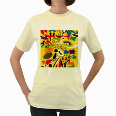 Yellow Eye Animals Cat Women s Yellow T-Shirt