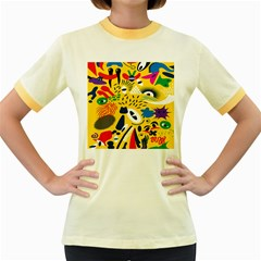 Yellow Eye Animals Cat Women s Fitted Ringer T-Shirts