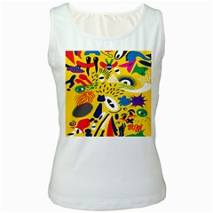 Yellow Eye Animals Cat Women s White Tank Top