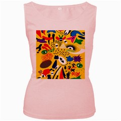 Yellow Eye Animals Cat Women s Pink Tank Top