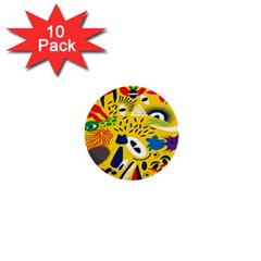 Yellow Eye Animals Cat 1  Mini Buttons (10 pack)