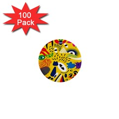 Yellow Eye Animals Cat 1  Mini Buttons (100 pack)