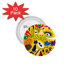 Yellow Eye Animals Cat 1.75  Buttons (10 pack)