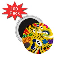 Yellow Eye Animals Cat 1.75  Magnets (100 pack)