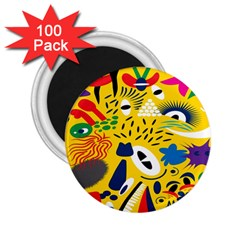 Yellow Eye Animals Cat 2.25  Magnets (100 pack)