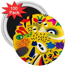 Yellow Eye Animals Cat 3  Magnets (100 pack)