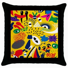 Yellow Eye Animals Cat Throw Pillow Case (Black)