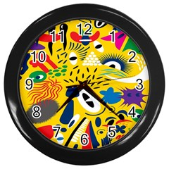 Yellow Eye Animals Cat Wall Clocks (Black)