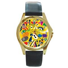 Yellow Eye Animals Cat Round Gold Metal Watch