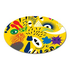 Yellow Eye Animals Cat Oval Magnet