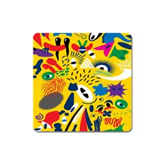 Yellow Eye Animals Cat Square Magnet