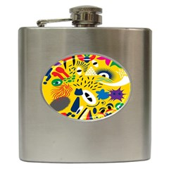 Yellow Eye Animals Cat Hip Flask (6 oz)