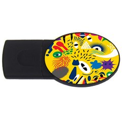 Yellow Eye Animals Cat USB Flash Drive Oval (1 GB)