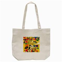 Yellow Eye Animals Cat Tote Bag (Cream)
