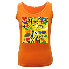 Yellow Eye Animals Cat Women s Dark Tank Top