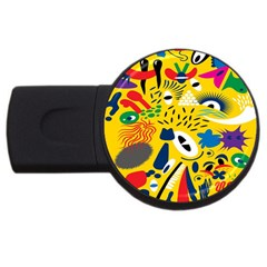 Yellow Eye Animals Cat USB Flash Drive Round (4 GB)