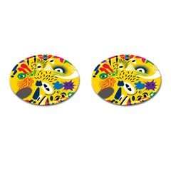 Yellow Eye Animals Cat Cufflinks (Oval)