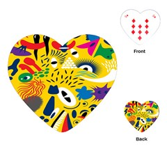 Yellow Eye Animals Cat Playing Cards (Heart)