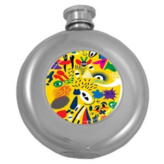 Yellow Eye Animals Cat Round Hip Flask (5 oz)