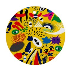 Yellow Eye Animals Cat Round Ornament (Two Sides)