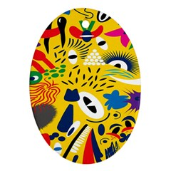 Yellow Eye Animals Cat Oval Ornament (Two Sides)