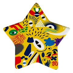 Yellow Eye Animals Cat Star Ornament (Two Sides)