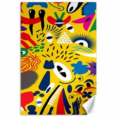 Yellow Eye Animals Cat Canvas 24  x 36