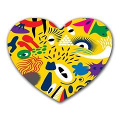 Yellow Eye Animals Cat Heart Mousepads