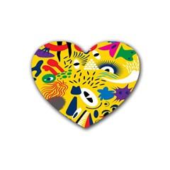 Yellow Eye Animals Cat Heart Coaster (4 pack)