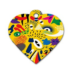 Yellow Eye Animals Cat Dog Tag Heart (Two Sides)