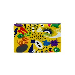 Yellow Eye Animals Cat Cosmetic Bag (Small)